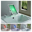 Charmingwater Contemporary  3 Color Changing LED Waterfall Chrome Brass Bathroom Sink Faucet
