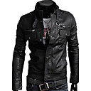 Hengyi Mens Stand Collar Zipper Pu Leather Jacket