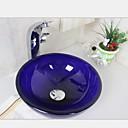 31cm púrpura pequeña cuenca de vidrio templado fregadero recipiente redondo con juego de grifo de agua caliente y fría
