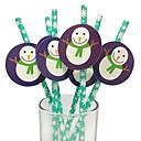 Navidad muñeco de nieve de papel pajas establecen de 25