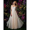 A-line Strapless Lace And Tulle Floor-length Wedding Dress (2148895)