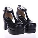 7.5cm negro cuero de la PU clásico tacón altoamp;lolita zapatos tradicionales con fila