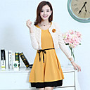 Loria Womens Round Neck Solid Color Two Piece Dress