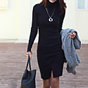 E-smile Women's High Neck Long Sleeve Solid Color Dress