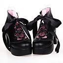 7.5cm negro cuero de la PU clásico tacón altoamp;zapatos tradicionales lolita