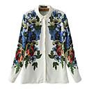 camisa de manga larga de la impresión floral de la moda de las mujeres joetina