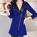 BZQ Womens Long Sleeve Slim Fashion Lapel Neck Temperament Zipper Overcoats