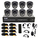8 Channel One-Touch CCTV DVR Sistema Online (8 cámara domo para interiores)