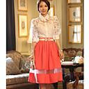 BZQ caramelo de la manera delgada faldas causual del color de las mujeres