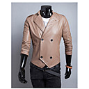 Brother Causal Stand Collar Double-breasted Leather Jacket 9127(black,Peridot,khaki)