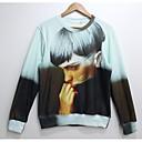 la moda de impresión 3D de manga larga hombre de lana camiseta de los hombres de arándano