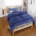 HC  Flannel Duvet Cover Set  4 Pieces Solid and Zebra Pattern with Fitted Sheet