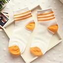 calcetines raya del caramelo del bromista de tres barras de algodón medias de Corea del Sur de la mujer zhuoshang naranja a692