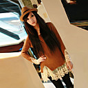 Zian Womens Round Collar Vintage Lace Long Sweater