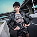 la moda de las mujeres de cuero de imitación chaqueta de manga larga