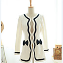 yzis arco decorado abrigo de tweed ajuste delgado de la mujer
