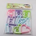 10pc protección del medio ambiente de plástico feliz galletas con forma / molde de la torta (colores al azar)