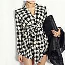E-smile Women's Lapel Neck All Matching Check Overcoat