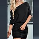 Xiuamp;vestido de color sólido uno bodycon hombro de la mujer s
