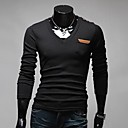 uamp;camisa de manga larga de la manera v del color del contraste del cuello pu cuero ocasional de los hombres f
