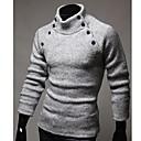 botón de color sólido suéter manga larga de los hombres quteng