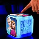 anna elsa congelado reloj despertador digital llevó la luz de la noche para los niños