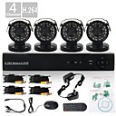 4 Channel H.264 Cmos 800TVL IR-CUT CCTV Digital CCTV DVR KIT((4pcs Day Night CCTV CMOS Cameras)