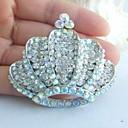 aleación de moda de diamantes de imitación de cristal en tono plateado de la corona de la boda de las mujeres broche nupcial