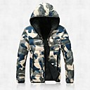Mens Hooded Long Sleeve Zipper Casual Camouflage Down Jacket