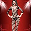 sexy de la moda adelgazan Yimi mujeres cortada del bodycon de la raya ropa de dormir