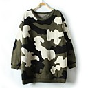 Womens Round Collar Long Sleeve Camouflage Casual Sweaters