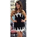 HouTong Women's Sexy Club Fashion Lace Crochet Black White Bodycon Mini Party Floral Patchwork Strap Dresses