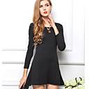Anne Womens Solid Color Elegant Long Sleeve Dress