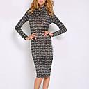 E-smile Women's High Neck All Matching Stripe Dress