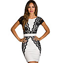 Sweet Womens Round Neck Lace Bodycon Dress