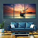 E-HOME Stretched Canvas Art Sunset Voyage Decoration Painting Set of 3