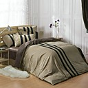HC  Flannel Duvet Cover Set  4 Pieces Solid with Stripe Pattern