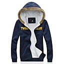 MANWAN WALKMens Thick Fleece Coats with Letter Print.Casual Slim Fit Hooded Jacket.