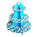 Navidad azul tres capas de soporte de la torta de cartón