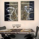 E-HOME Stretched Canvas Art A Glass Of Red Wine Cup Decoration Painting Set of 2