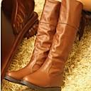 belleza gril botas de moda del dedo del pie redondo mediados de la pantorrilla botas de tacón plano