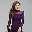 alta bodycon cuello de color sólido camiseta de las mujeres sara
