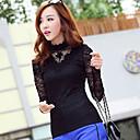 camisa de manga larga de color sólido encaje xin kuan