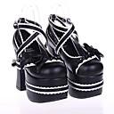 12.5cm negro cuero de la PU clásico tacón altoamp;lolita zapatos tradicionales con fila