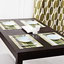 Set of 4 Green Series Striped Placemats,PP,3040cm(1216 inch)
