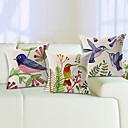 Set of 3 Vivid Birds Cotton/Linen Decorative Pillow Cover