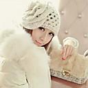 HouTong Women Fashion White Flower Knitting Beanie Hat