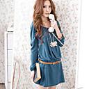 de manga larga vestido de color sólido cuello redondo de las mujeres wenyan