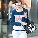 una camisa de manga larga de tocar fondo nuevas rayas de cuello redondo coreano del color del contraste de algodón Belard