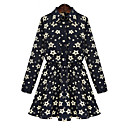 Black Friday New2014 Big Size Lapel Floral Print Fitted Dress